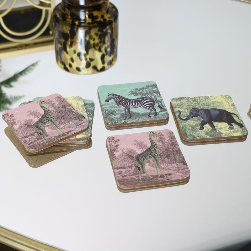 Set of 6 Safari Animal Coasters