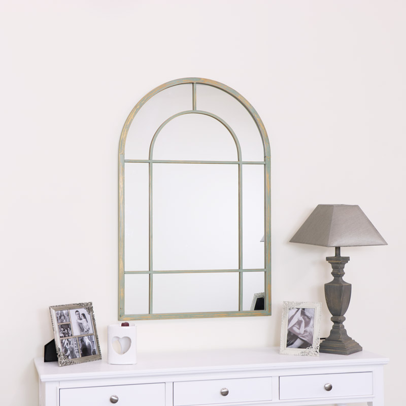 Large French Grey Arched Window Mirror