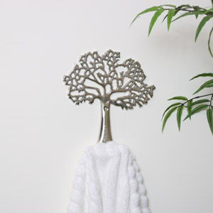 Silver Metal Tree Of Life Coat Hook