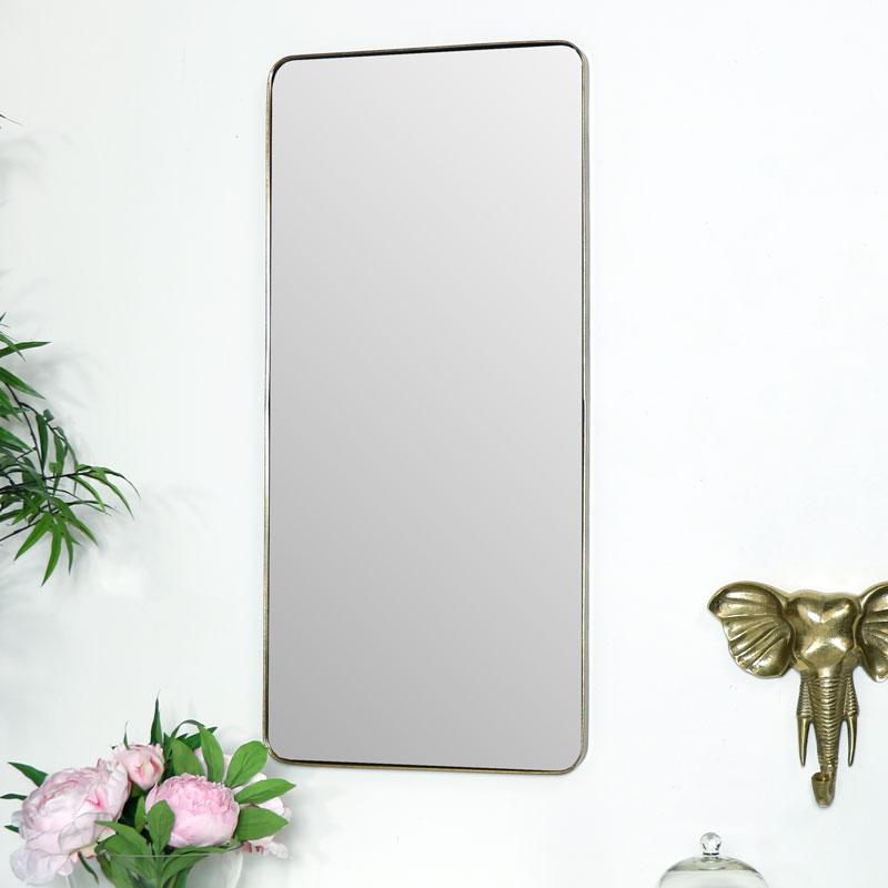 Slim Gold Wall Mirror 37cm x 80cm