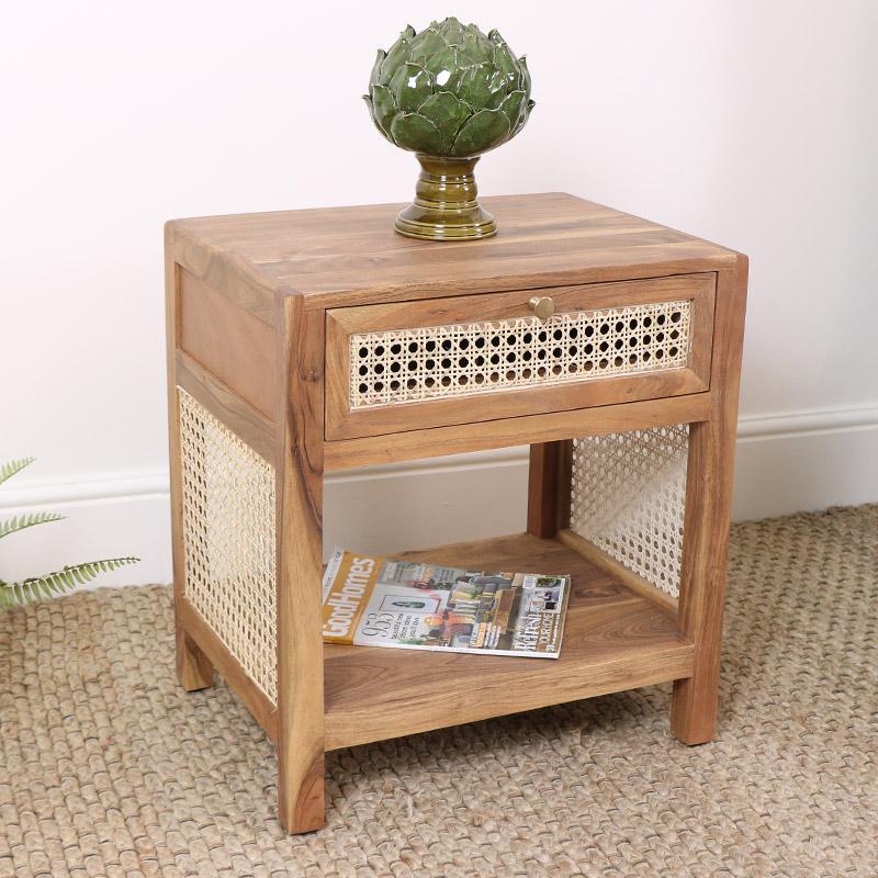 Wood & Cane 1 Drawer Bedside/Side Table