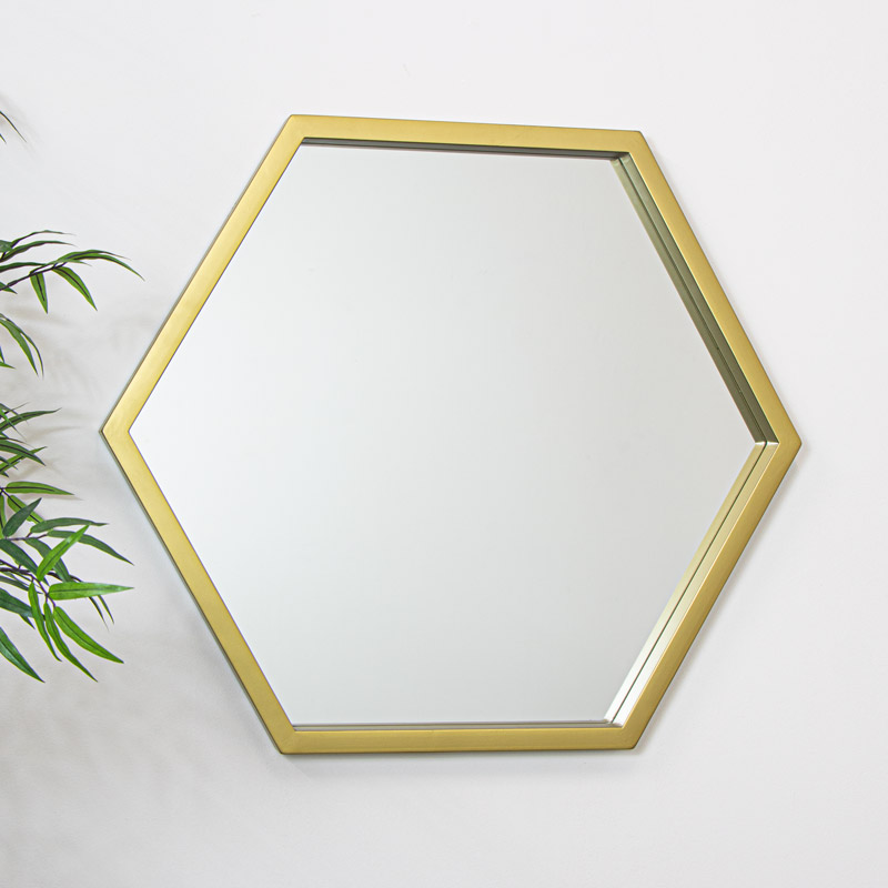 Gold Hexagonal Wall Mirror 70cm x 81cm