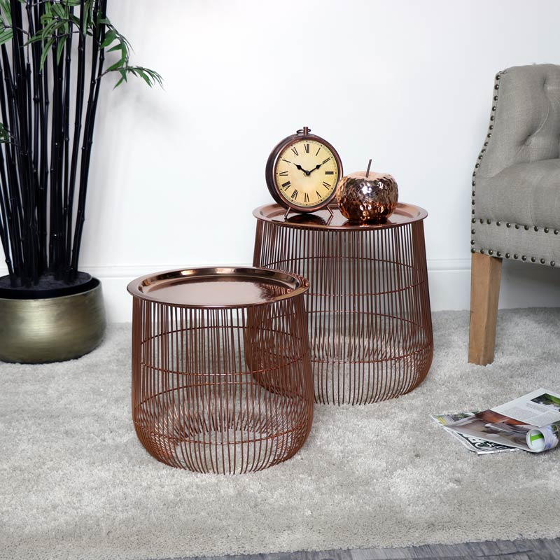 Pair of Copper Side Tables