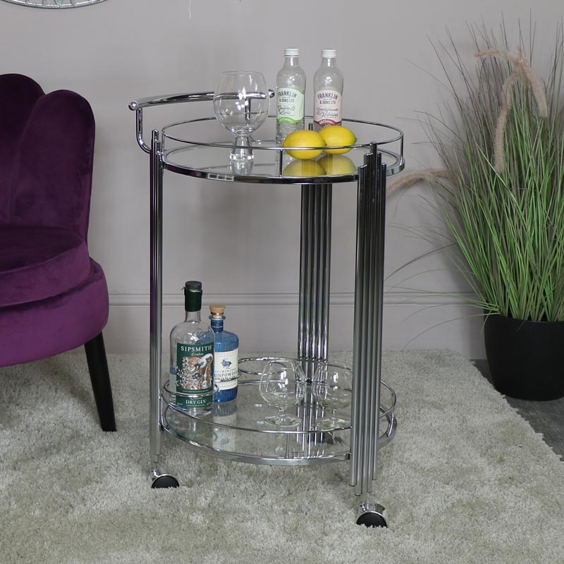 Round Silver Glass Top Drinks Trolley