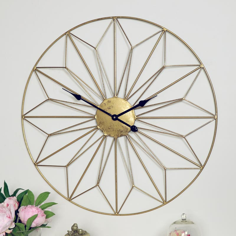 Large Gold Wire Wall Clock
