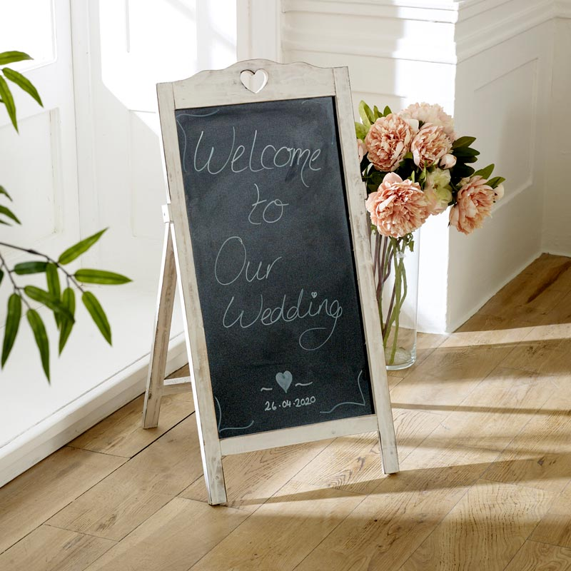 White Large Free standing floor Blackboard on Stand