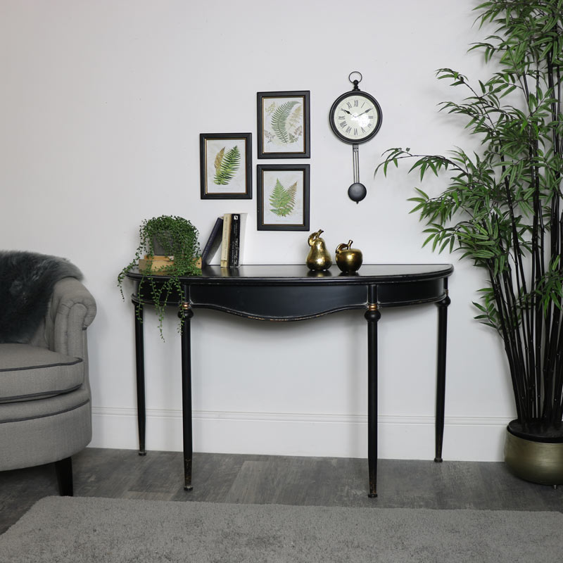 Large Vintage Half Moon Metal Console Table