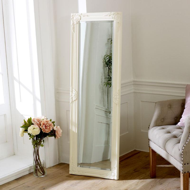 Ivory Ornate Tall Mirror 142cm x 42cm