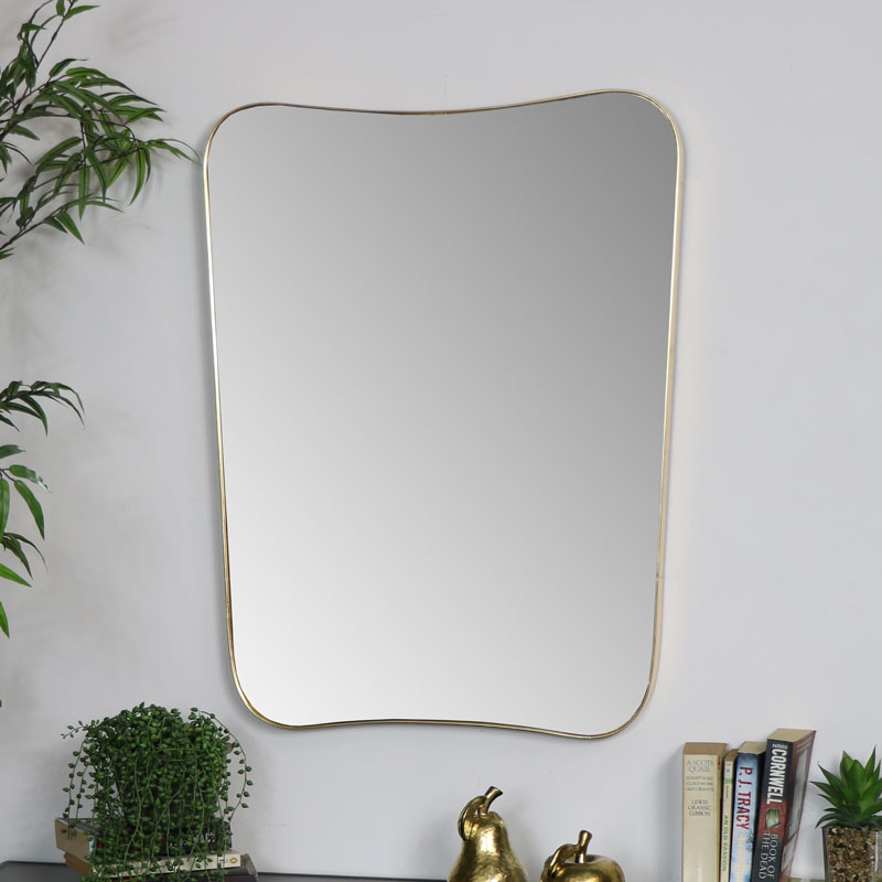 Large Gold Curved Wall Mirror 59cm x 77cm