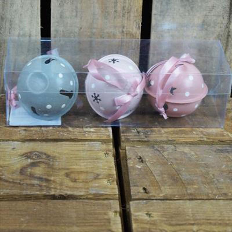 Set of 3 Grey & Pink Metal Baubles