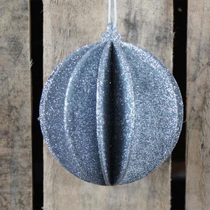 Round 3D Silver Glitter Bauble