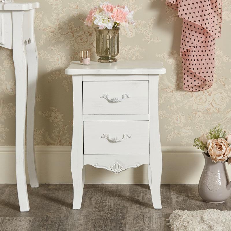 White 2 Drawer Bedside Chest - Jolie Range