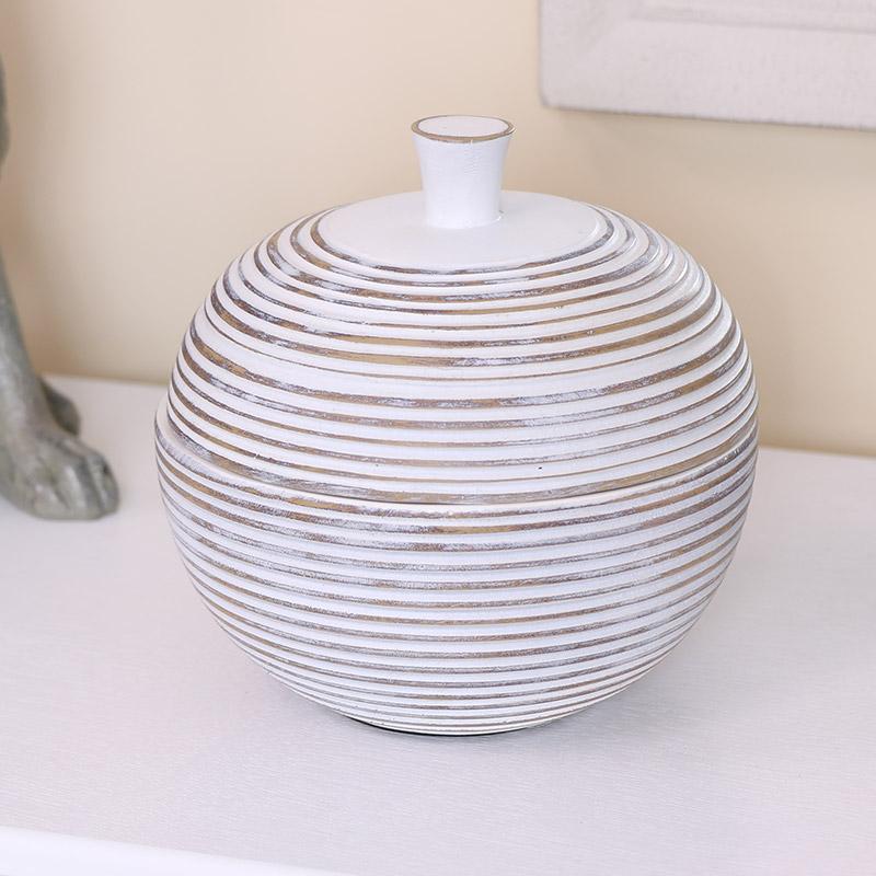 White Washed Ribbed Storage Jar