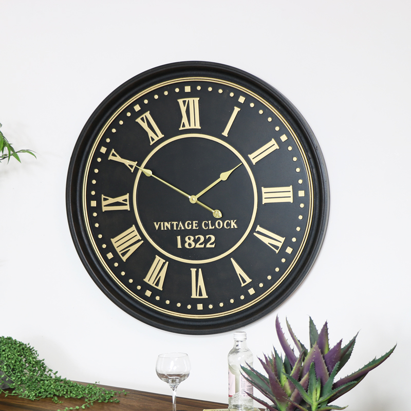 Large Black & Gold Wall Clock