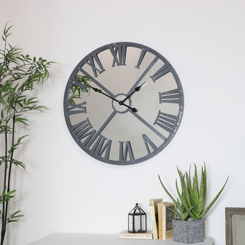 Large Grey Metal Distressed Mirrored Wall Clock