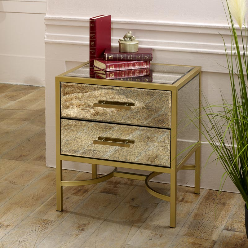 Gold Antique Mirrored Bedside Chest / Occasional Table  - Cleopatra Range