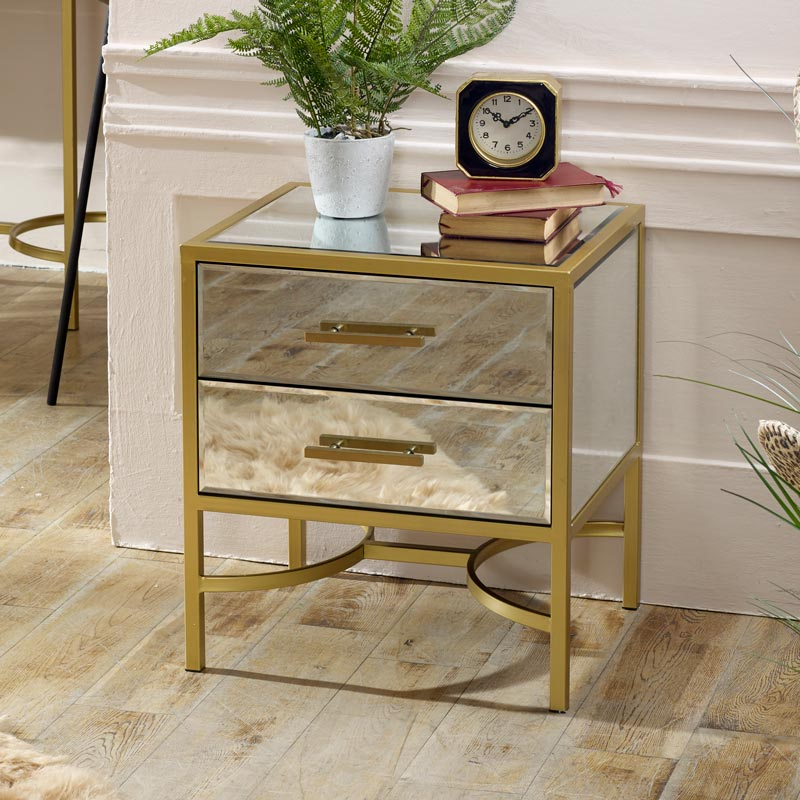 Gold Framed Mirrored Bedside / Occasional Table - Venus Range
