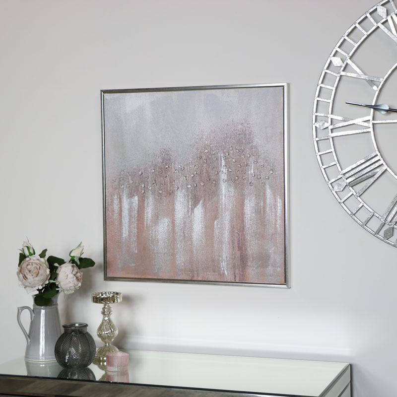 Pink & Silver Crystal Abstract Wall Print Canvas