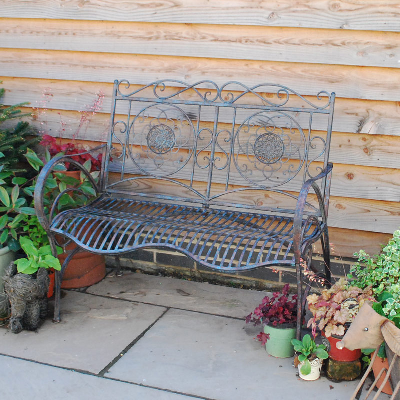 Antiqued Black Metal Garden Bench