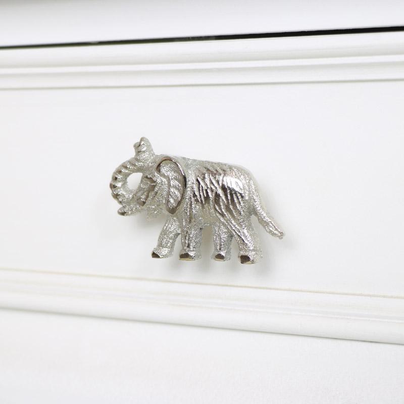 Silver Elephant Drawer Knob