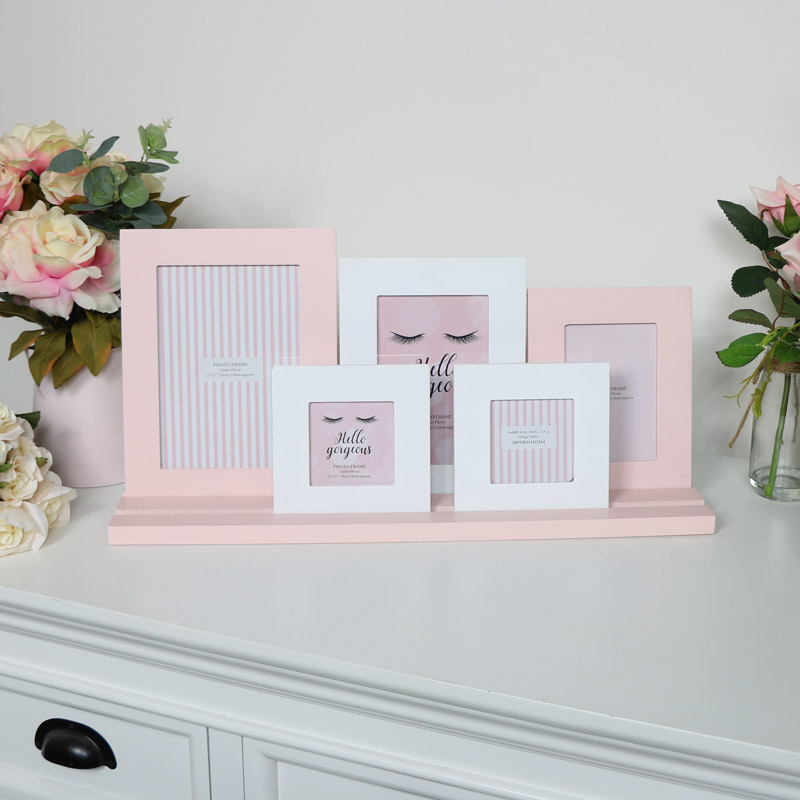 Pink & White Multi Photo Frame
