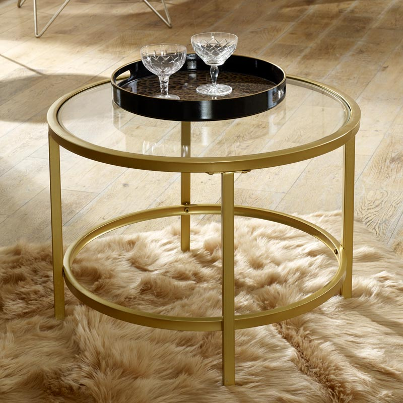 Vintage Gold Round Glass Top Coffee Table