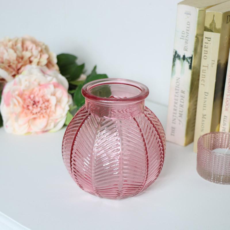 Small Pink Leaf Print Glass Vase