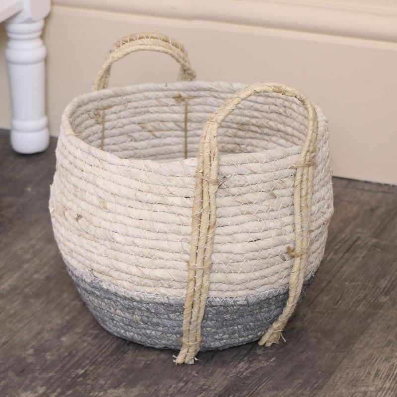 Small Round White & Grey Seagrass Basket