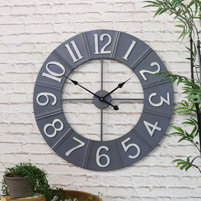 Large Round Grey Metal Wall Clock