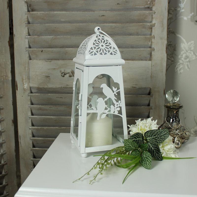 White Metal Bird Lantern
