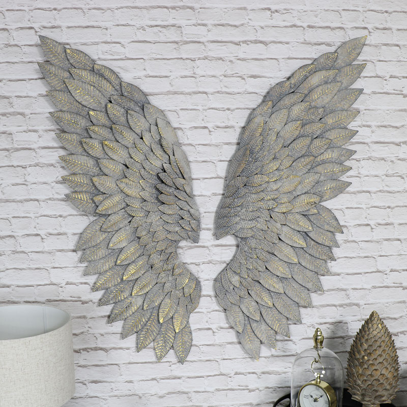 Pair of Large Grey Feather Effect Angel Wings