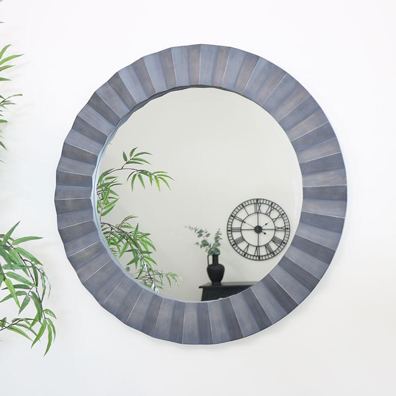 Large Grey Distressed Wall Mirror 80cm x 80cm