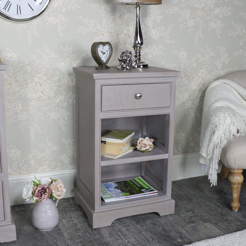 Taupe 1 Drawer Bedside Cabinet - Cambridge Range