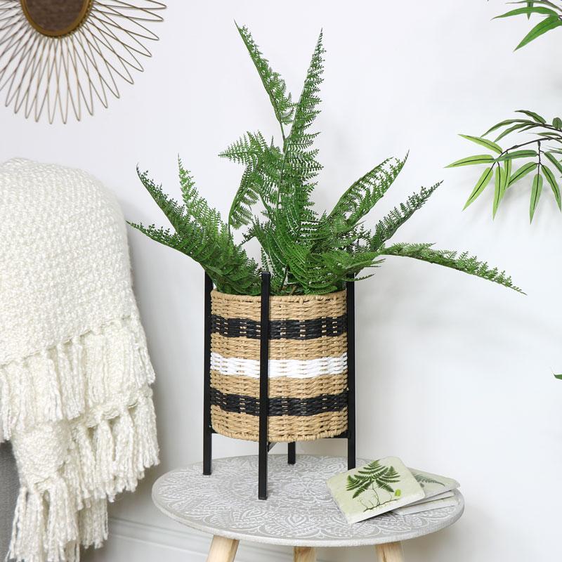 Wicker Basket Planter on Stand