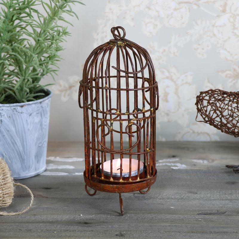 Rustic Birdcage Tealight Candle Lantern