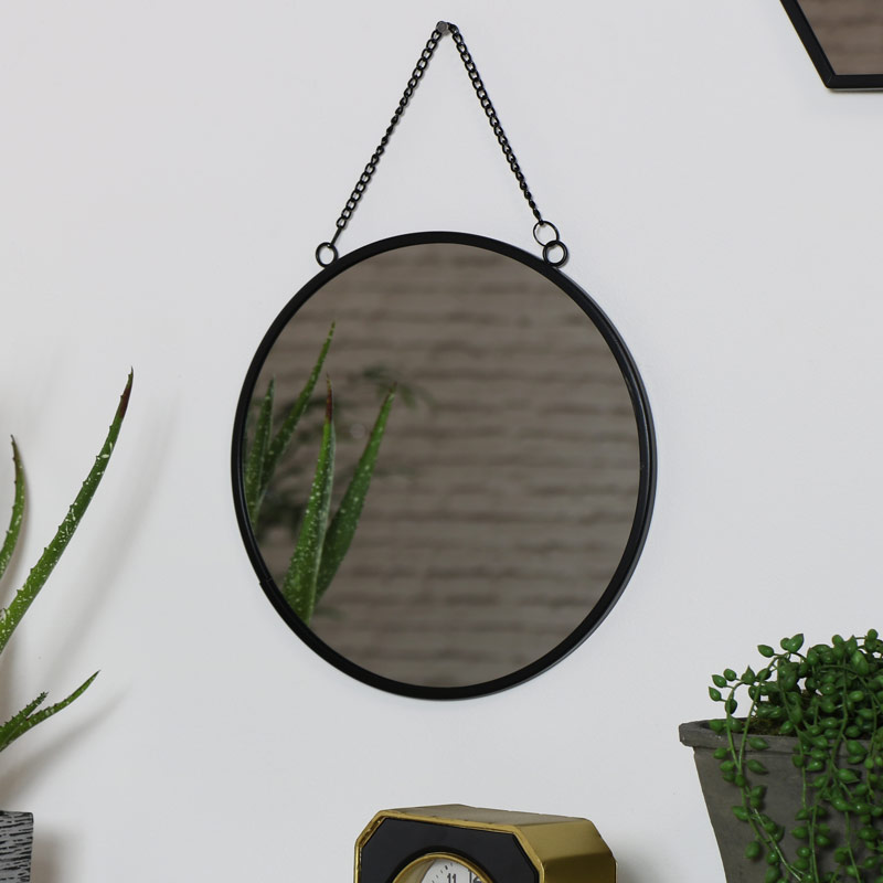 Round Black Wall Mirror