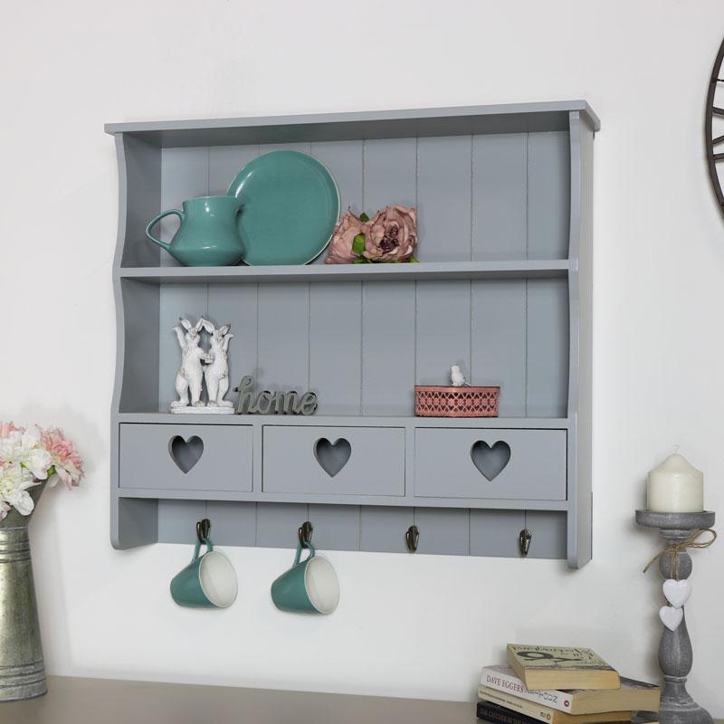 Large Grey Wall Shelf with Heart Drawer Storage