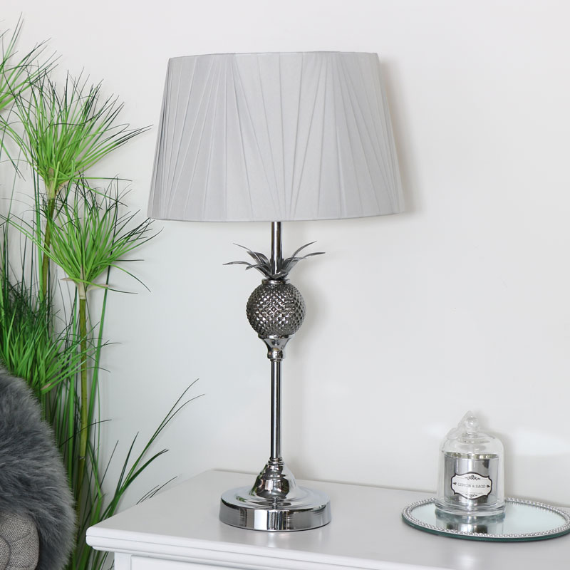 Silver Table Lamp with Light Grey Shade