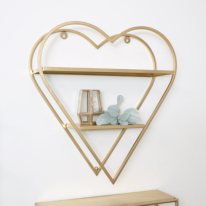 Gold Metal Heart Shaped Shelf