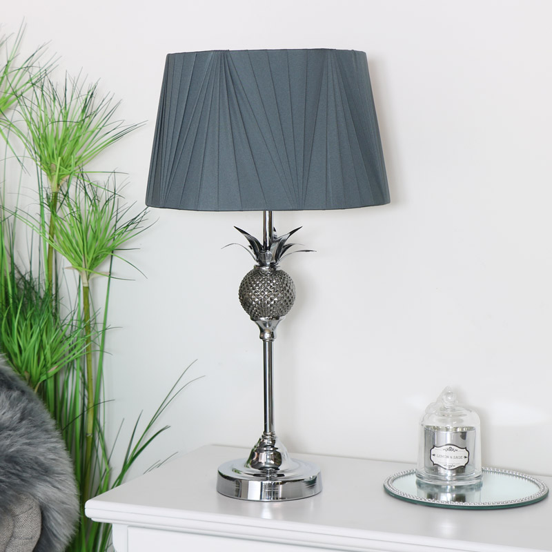 Silver Table Lamp with Dark Grey Shade