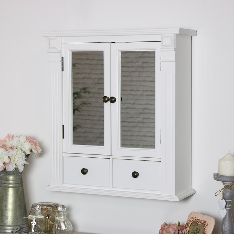 White Mirrored Bathroom Wall Cabinet Flora Furniture