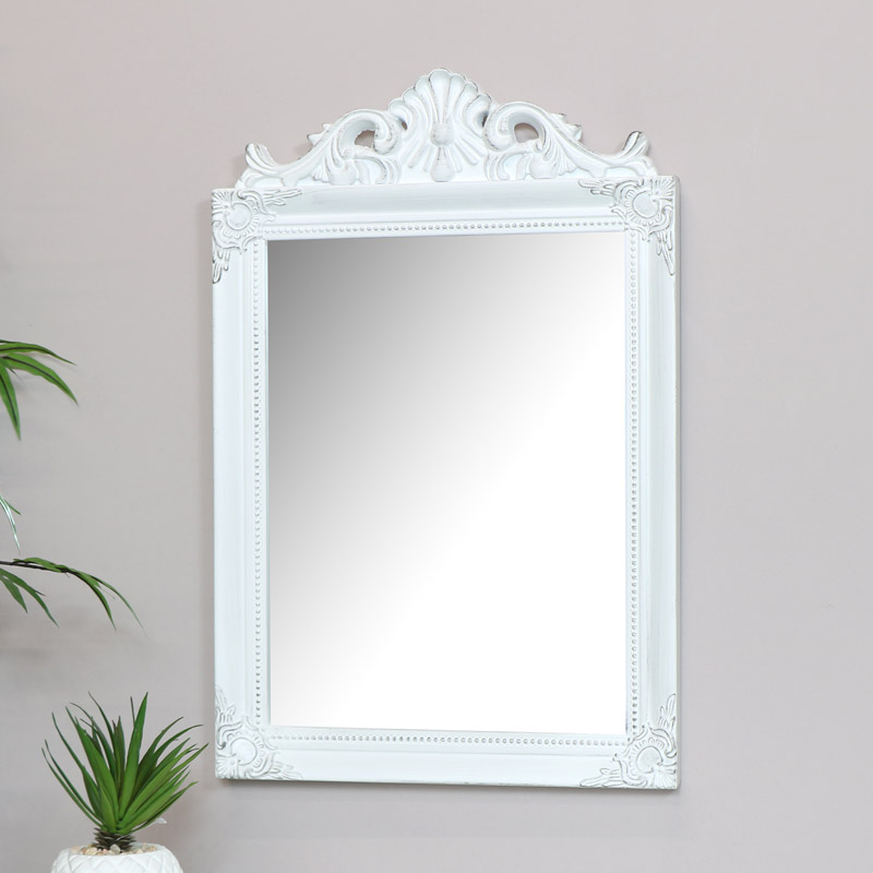 Antique White Wall Mirror 36cm x 55cm