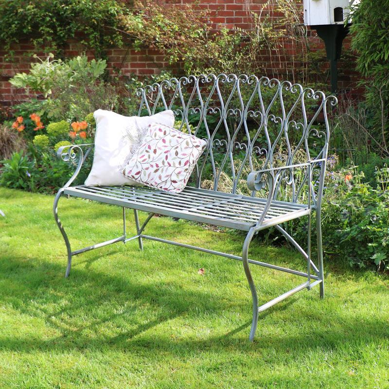 Ornate Green Metal Garden Bench Flora Furniture