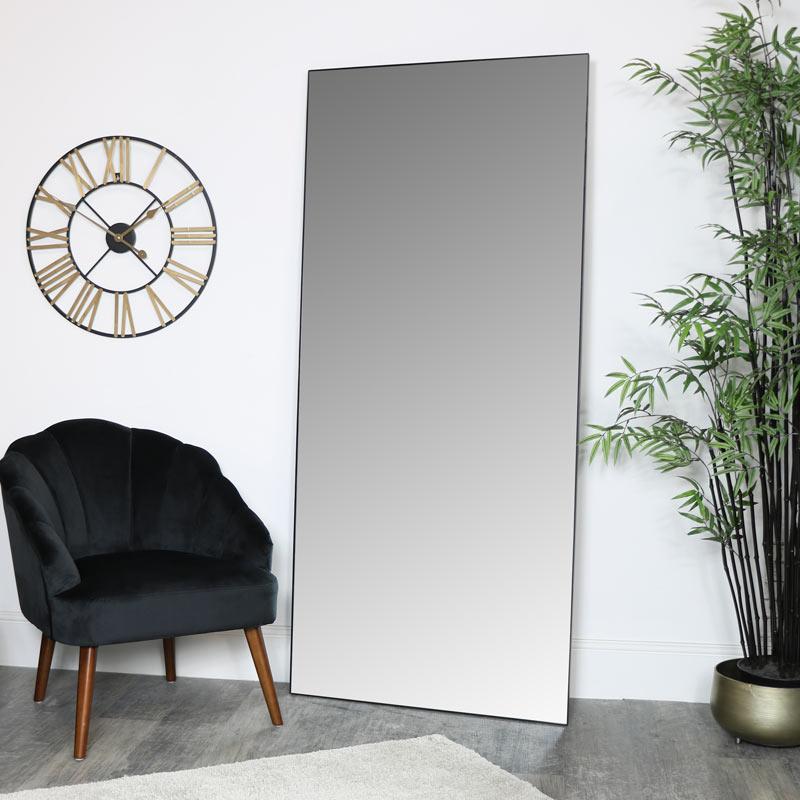 Large Black Thin Framed Leaner Mirror 80cm x 180cm