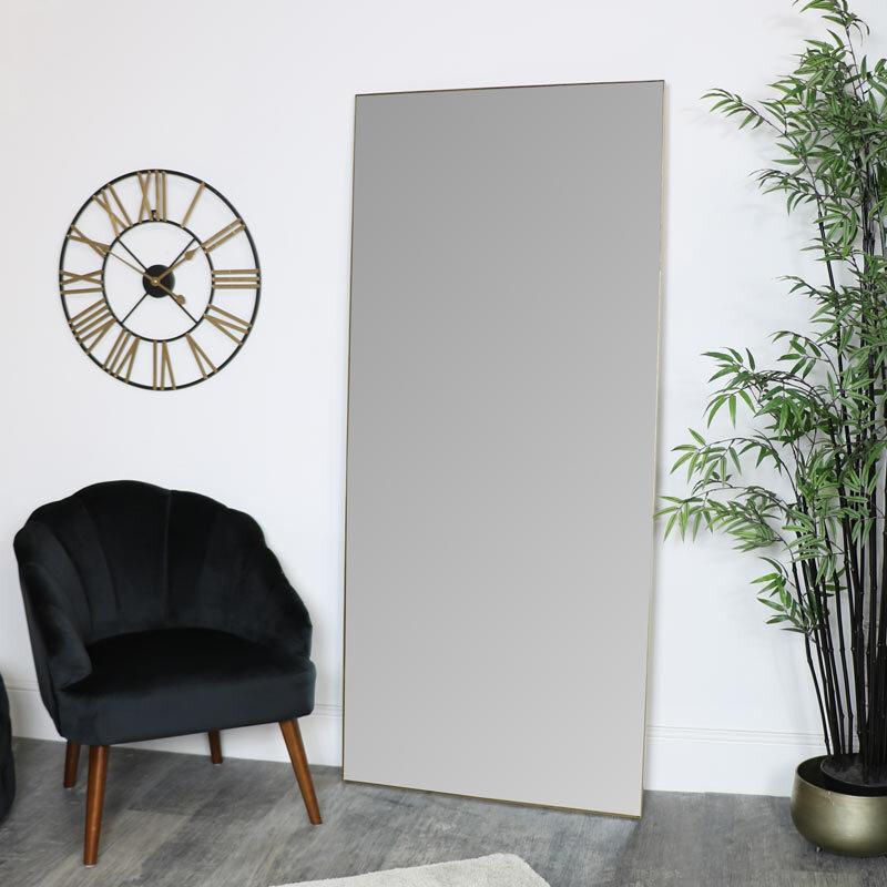 Large Gold Thin Framed Leaner Mirror 80cm x 180cm