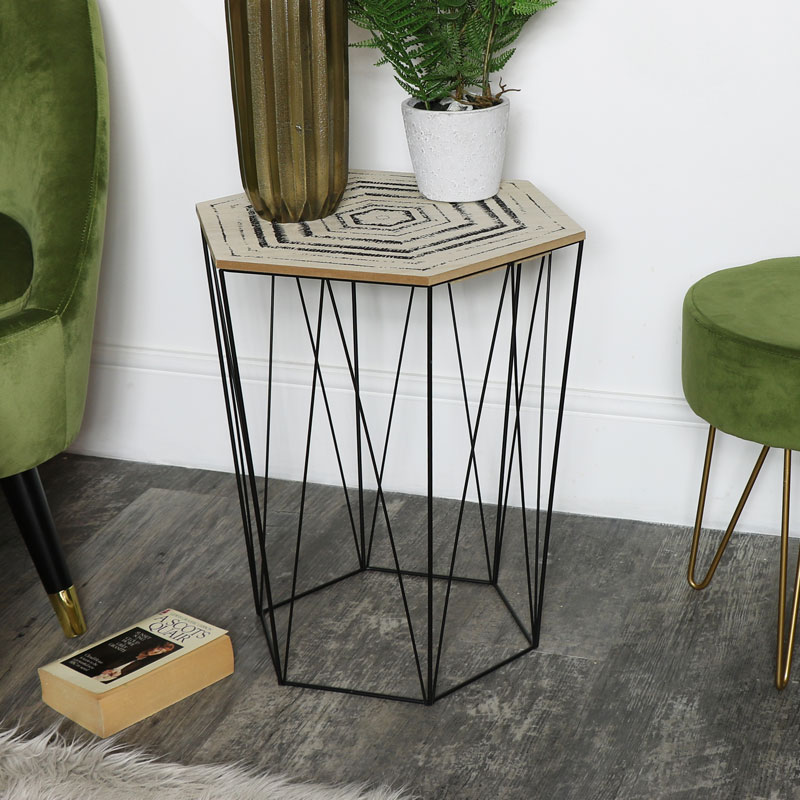 Wire Metal Occasional Table with Wooden Top