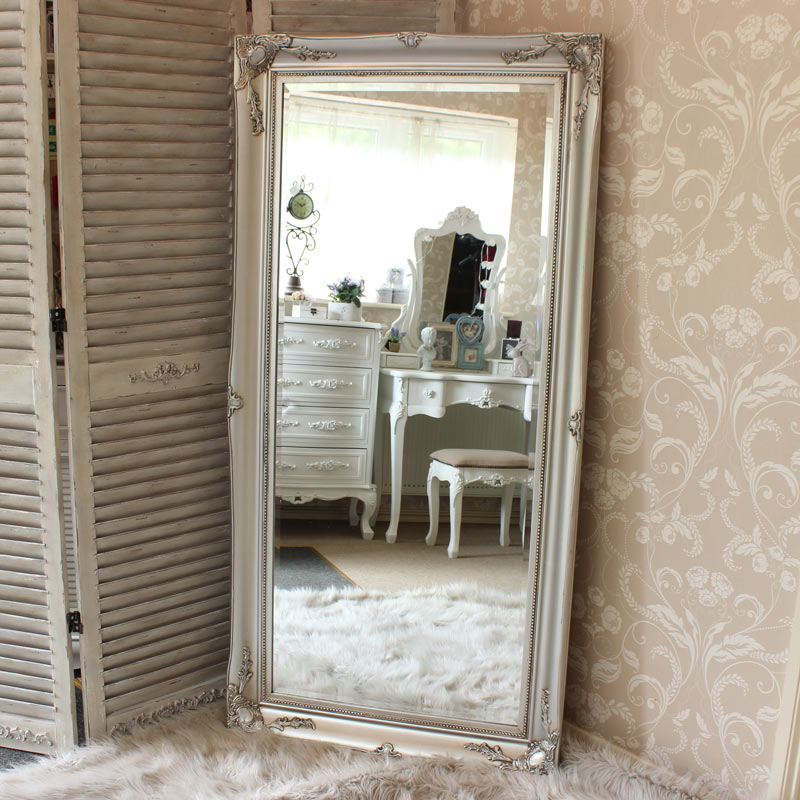 Large Ornate Silver Wall/Floor Mirror 158cm x 78cm