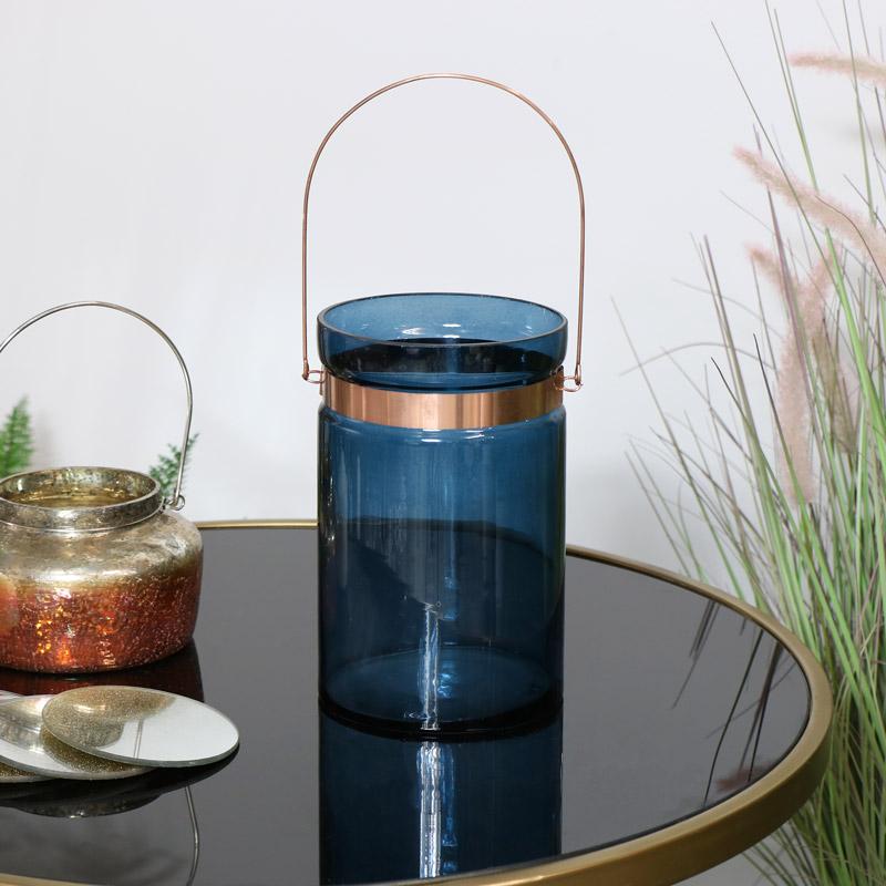 Blue Hurricane Glass Candle Holder