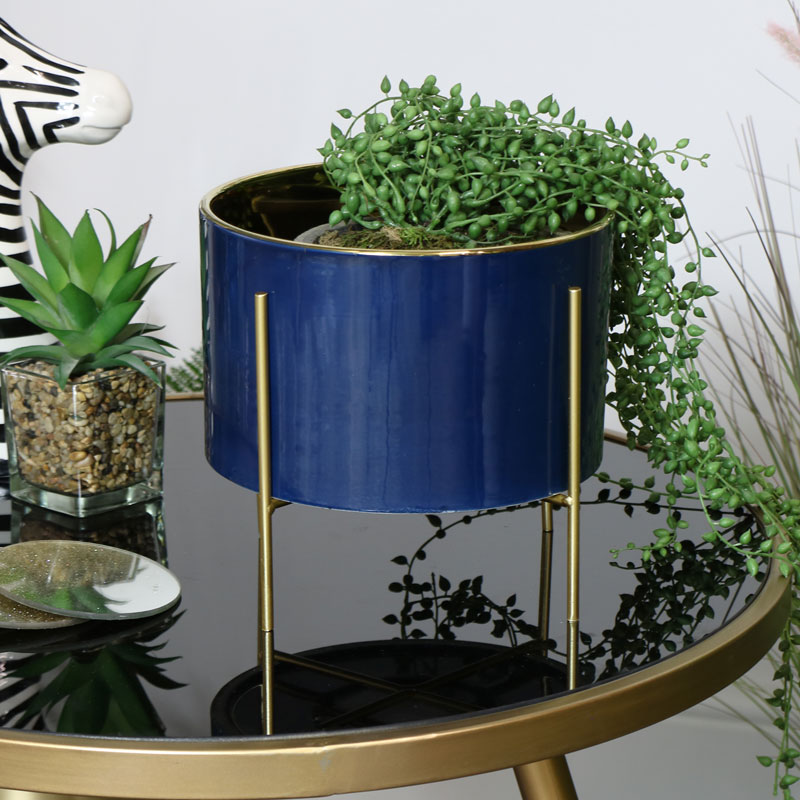 Blue & Gold Plant Stand