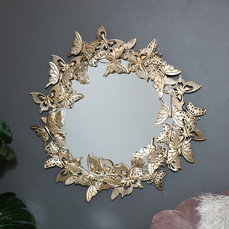 Round Vintage Gold Butterfly Wall Mirror